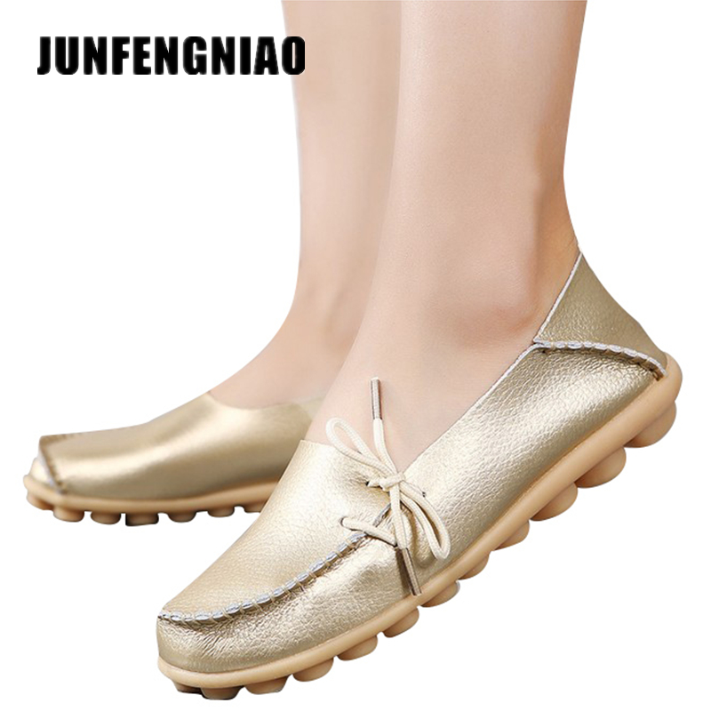 JUNFENGNIAO Genuine Leather Women Mother Shoes Girls Lace-Up Fashion Casual Shoes Comfortable Breathable Women Flats LLX-911 women s shoes 2017 summer new fashion footwear women s air network flat shoes breathable comfortable casual shoes jdt103