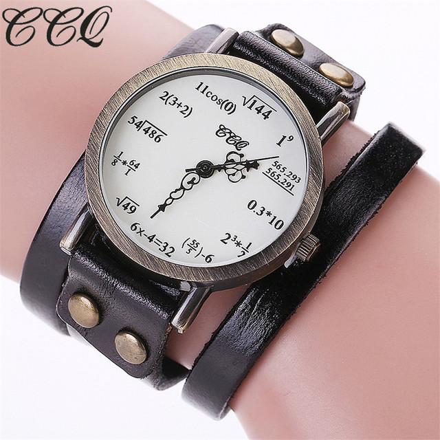 Ccq thương hiệu thời trang vintage creative da math công thức phương trình watch phụ nữ thường bracelet quartz xem relogio feminino c92
