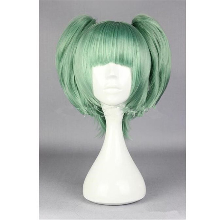 Assassination Classroom Ansatsu Kyoushitsu Kayano Kaede Short Green  Cosplay Party Wig Hair with Chip Ponytails A599