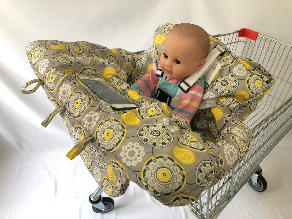 Cover And Cushion Diversified Latest Designs Yellow Flower Shopping Cart Seat Cover 2-in-1 High Chair Cover For Baby & Toddler Multifunctional As Pad Bag