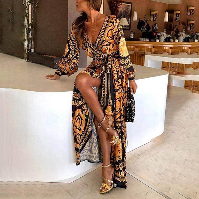 Sexy Vintage Sliting Print Maxi Dress Women Summer 2019 Splicing Pattern Belt Deep V Neck Big Hem Dresses Chic Party Long Dress