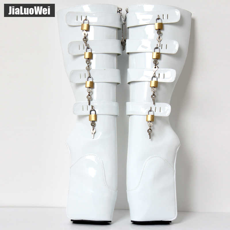 Jialuowei Fetish Ballet Laarzen Vrouwen 18 Cm Super Hoge Hak Sexy Wedge Hoof Heelless Platform Schoenen Afsluitbare Knie Hoge Slave laarzen