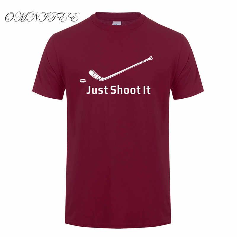 Omnitee جديد الصيف فقط اطلاق الرصاص عليه الجليد hockeyer T قميص الرجال عارضة القطن قصير الأكمام مضحك رجل hockeyer تي شيرت التي شيرت OZ-049