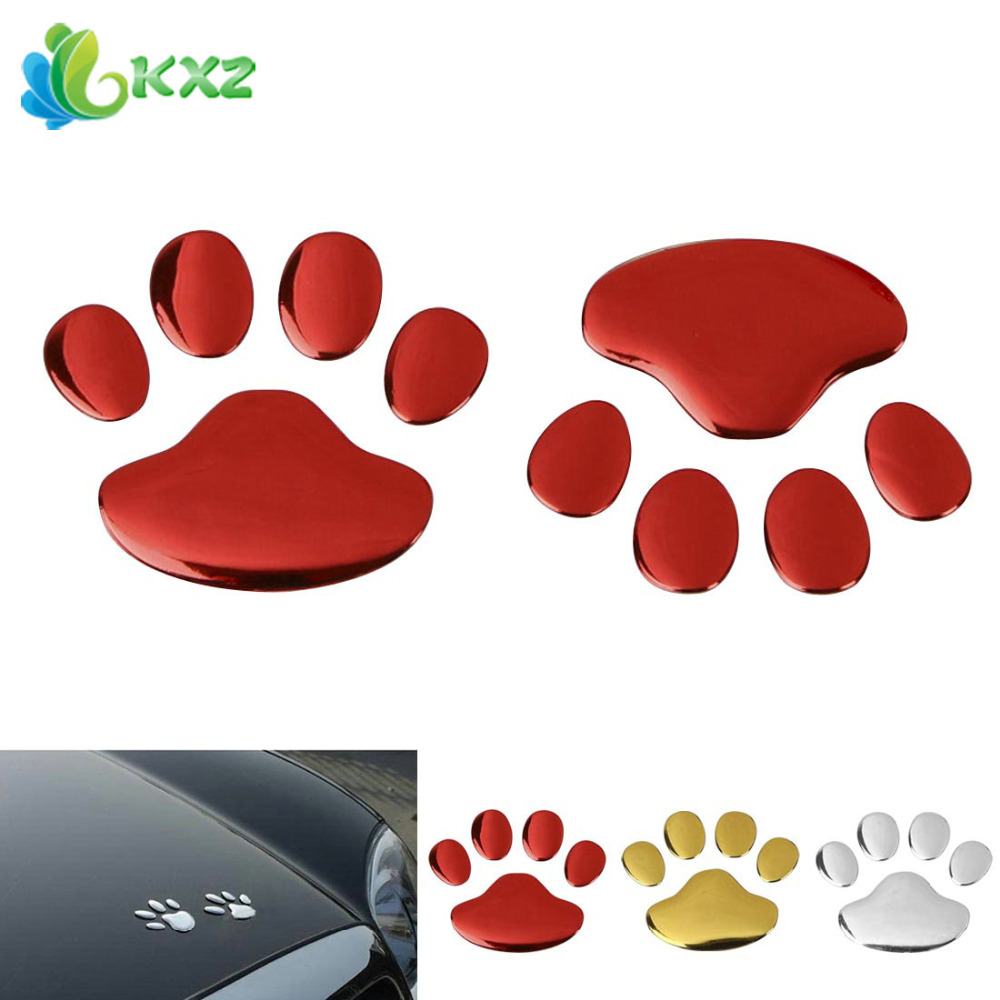 1 Pair 3D PVC Auto Car Sticker and Decals Dog Paw Footprint Nick Cover Sticker Car Styling Decoration