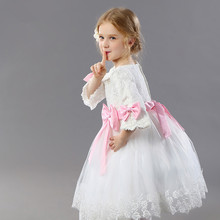 White First Communion Dress For Girls With Pink Bow Lace Sleeves Short Kids Ball Gown Flower Girl Dress For Weddings