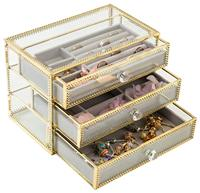Jewelry Box Decorative Glass Metal Lace Jewelry Organizer Storage Boxes with Jewelry Display Tray for Earrings Rings Necklaces