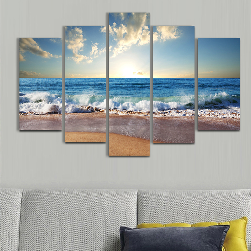 2017 Fallout Wall Pictures For Living Room Paintings Discount Ocean Sunset 5pcs Painting Oil On Canvas For Home Decor Cuadros