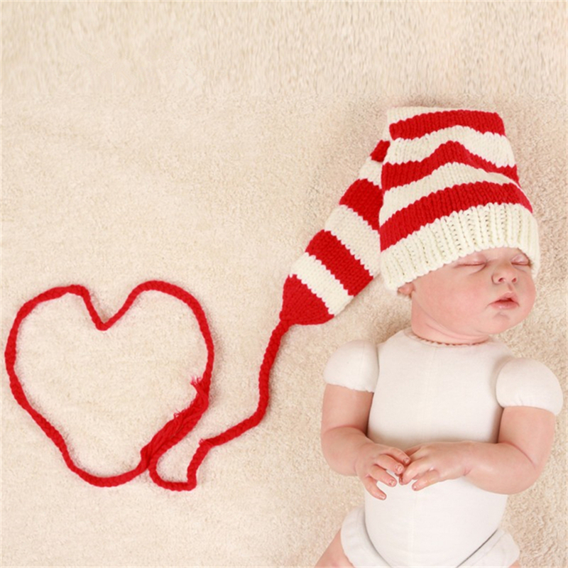 Baby Hat Handmade Christmas Beanies Costume Knitted Newborn Long Tail Crochet Newborn Photography Props Accessories Crochet Hat