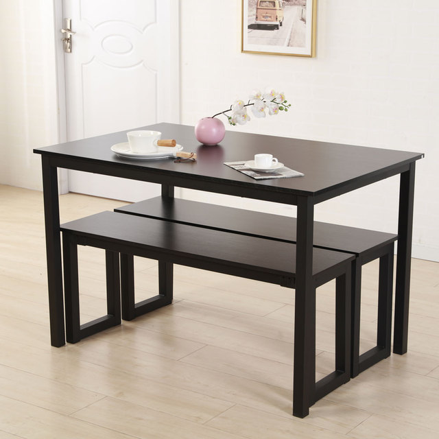 Modern 3 Pieces Wood Dining Table Sets With 2 Benches Black Brown For Home Kitchen