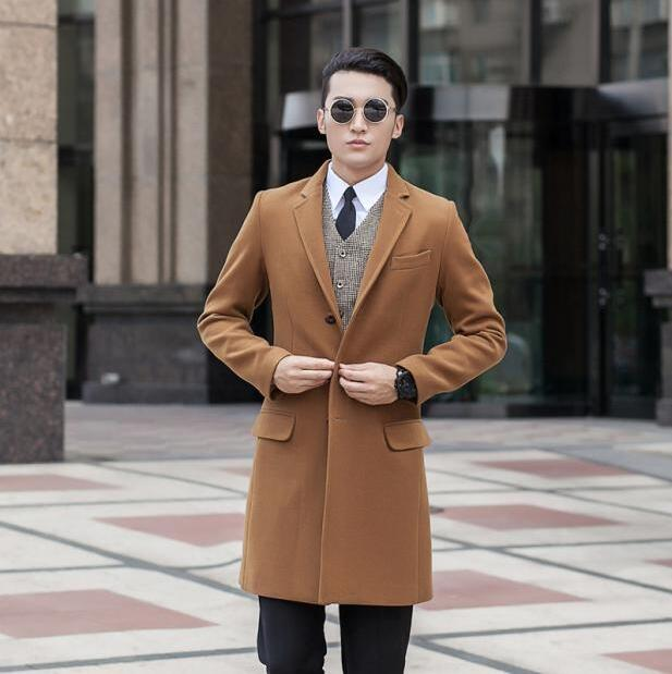 Free shipping classic woolen coat men overcoat mens cashmere coat european business casual suit single breasted outerwear 9XL