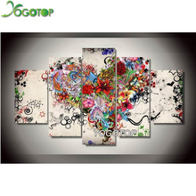 YOGOTOP DIY Diamond Painting Cross Stitch 5D Embroidery Full Mosaic Crafts Needlework love floral 5pcs/set ML052