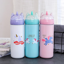 Cartoon Unicorn Sequined Insulated Bottle Stainless Steel Student Cups Outdoor Portable Cute Gift Kids Thermos Thermal Cup
