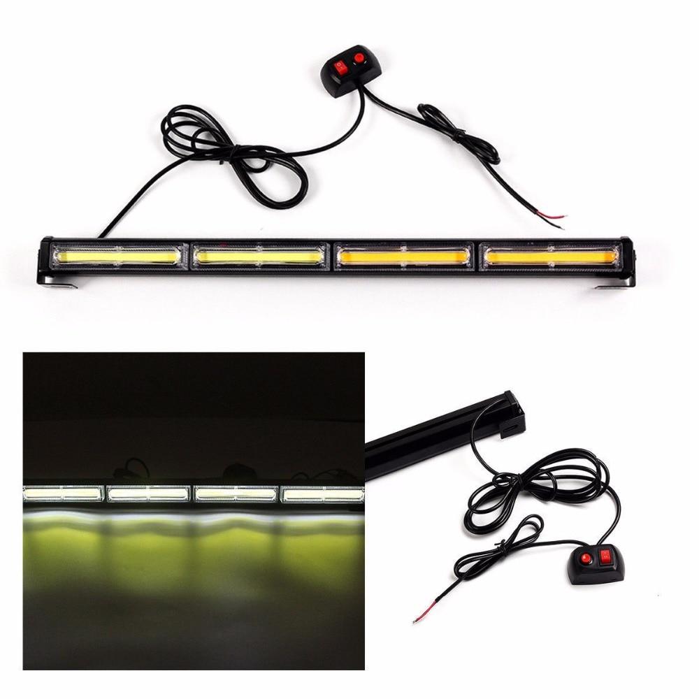 CYAN SOIL BAY COB LED White Strobe Traffic Emergency Light Bar Warning Lamp ON/OFF Universal