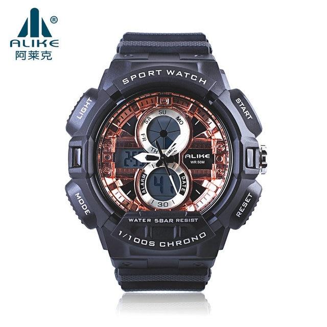 2016 New Brand ALIKE Fashion Watch Men 50M Waterproof Sports Military Watches Shock Men's Luxury Analog Quartz Digital WrisWatch
