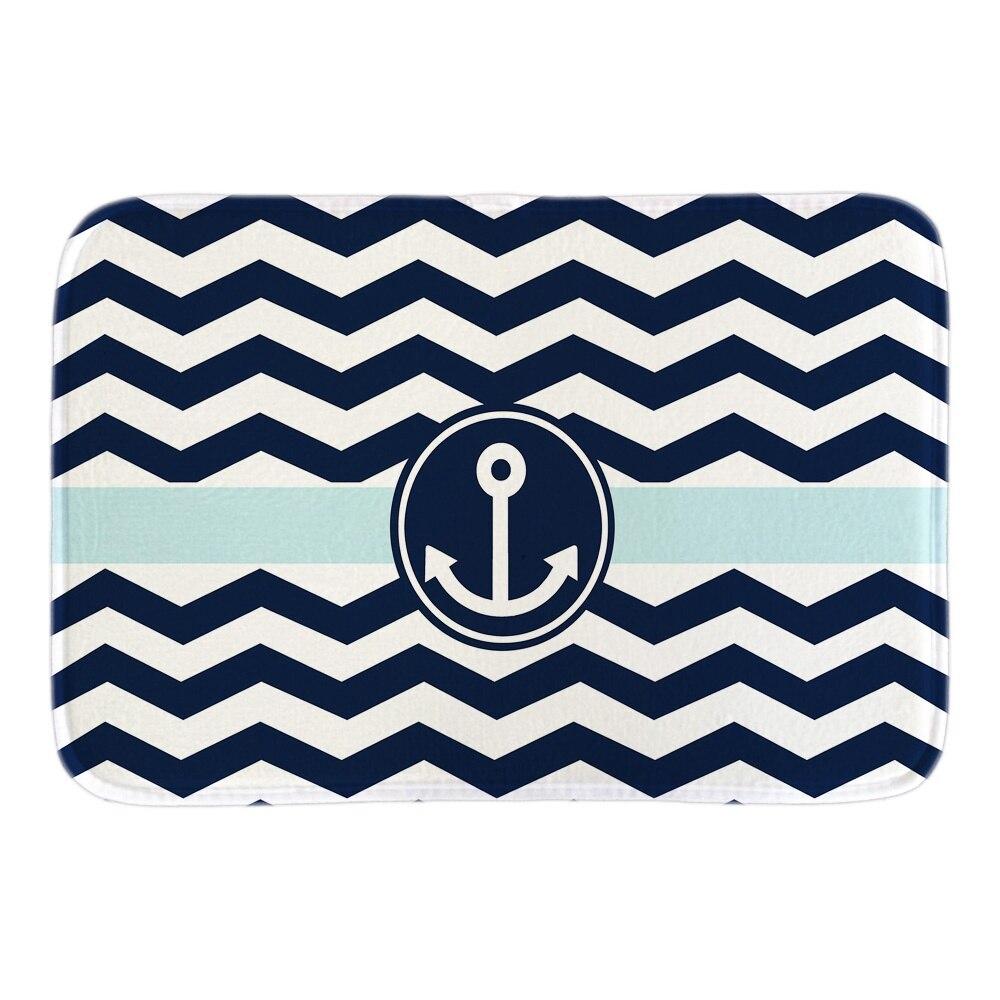 navy blue white zigzag with anchor decor home doormats soft lightness indoor outdoor door mats short