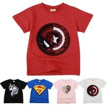 6556b27c0 Niños Niñas camisetas niños magia lentejuelas Reversible de algodón de  verano Casual ropa de moda niños