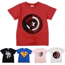 ec8b20f36 Niños Niñas camisetas niños magia lentejuelas Reversible de algodón de  verano Casual ropa de moda niños