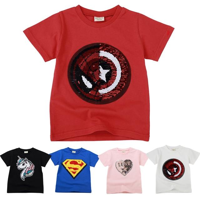Girls Boys T-Shirts Children Magic Sequin Reversible Cotton Casual Summer Clothing Fashion T Shirt Kids Unicorn Tops Tee