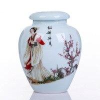 Four Beautiful Women Ceramic Big Tea Caddy Box Porcelain Sealed Kung Fu Tea bottles & jars Storage Canister Decorative Vase