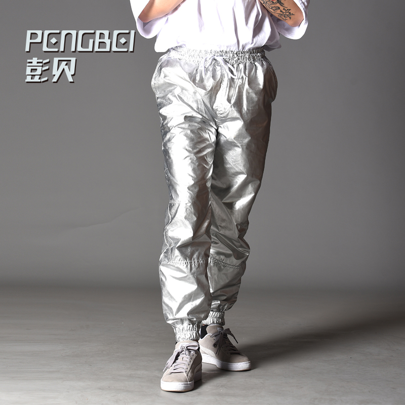 PengBei Jogging Spring Autumn Men Women Silver Bright Color Hip-hop Dance Movement Night Long Pants S-4xl Plus Size