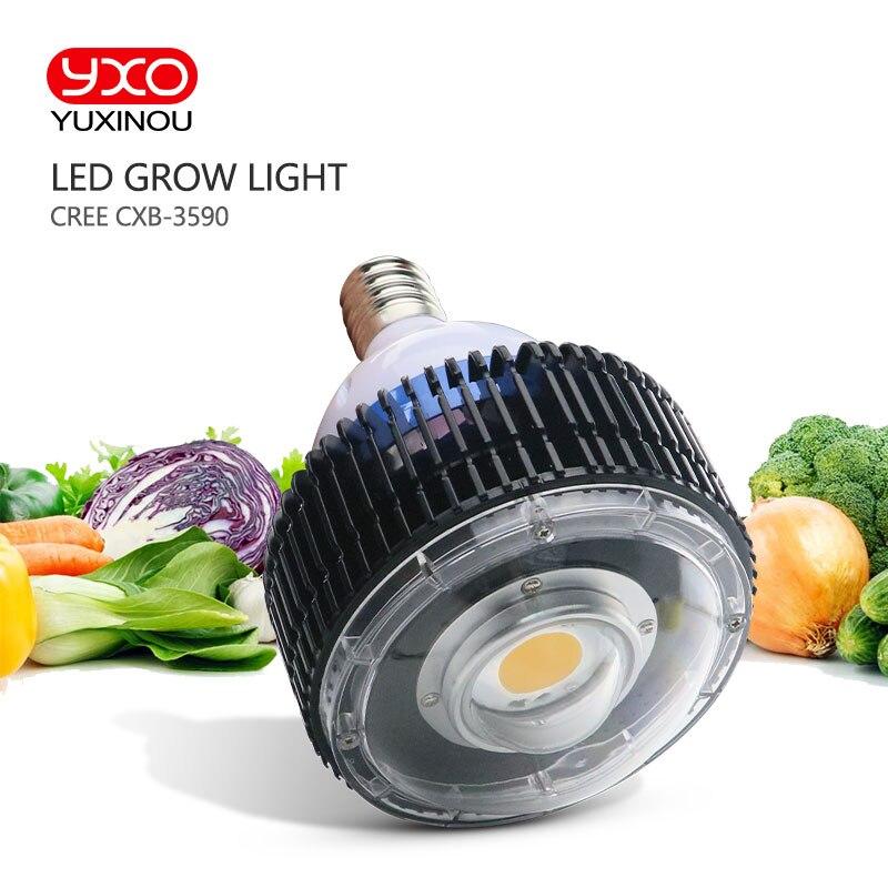 Кри УДАРА E27 светодио дный светать, CREE CXB3590 100 Вт полный спектр светодио дный завод растут с Стекло объектив без вентилятора для комнатных рас