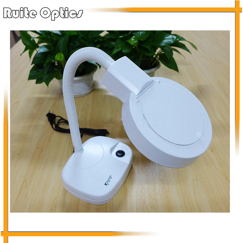 220V 3x 8x Desktop White Optical Glass Large Reading Magnifer Magnifying Glass with LED Lights