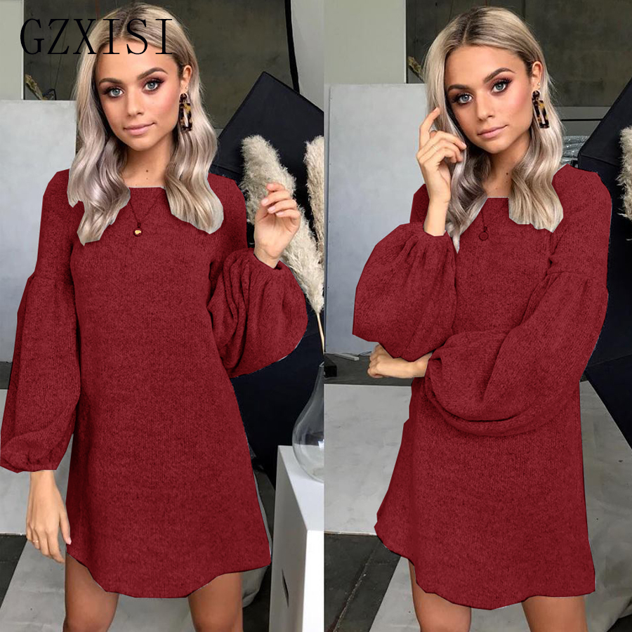 winter dress women sexy lantern sleeve o neck party mini dress solid red black office knitted sweater dress ladies plus size in Dresses from Women 39 s Clothing