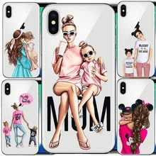 Fashion Black Brown Hair Baby Mom Girl Queen 01 Case For iPhone X XS Max XR 8 7 6 6s Plus 5 5s SE Silicone Woman Phone Cover(China)