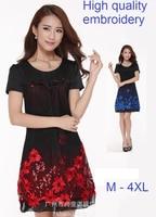 2015new design plus size women summer embroidery dress short sleeve elegant blue red dresses slim casual beaded D61 DRESS XXXXL
