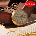 Royal London Eyes Luxury Gold Men Mechanical Hand Winding Pocket Watch Necklace Military Cool Vintage Fashion Pocket Watch PW258