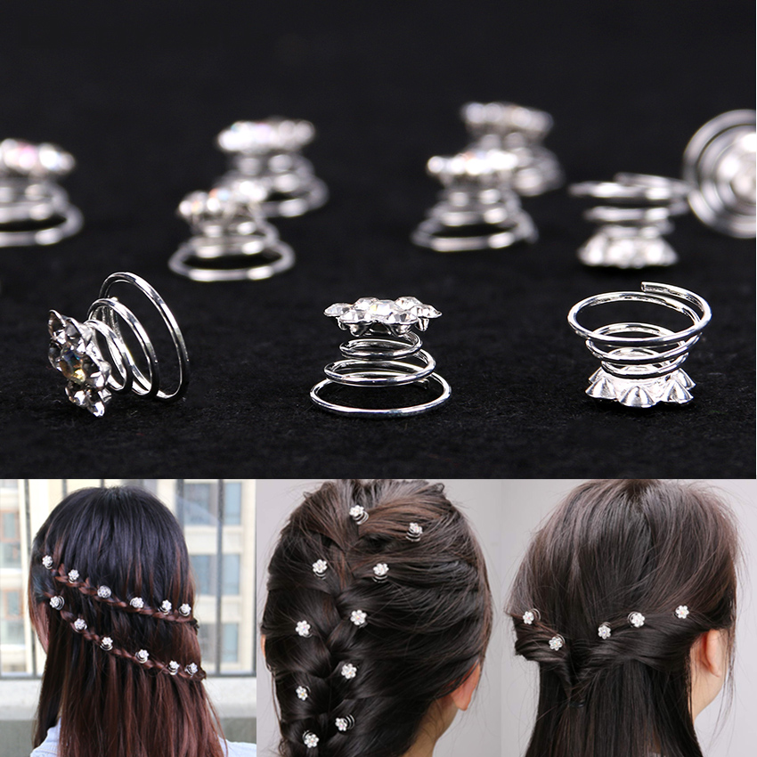 12Pcs/Pack Princess Crystal Rhinestone Flower Hair Clips Spiral Hairpin For Women Bride Wedding Hair Accessories For Women