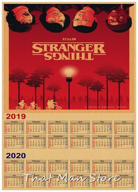 Poster Calendario 2020.Us 1 75 10 Off Hot Sale Stranger Things 2019 2020 Calendar Poster Vintage Antique Posters Wall Sticker Home Decora 30 21cm In Wall Stickers From