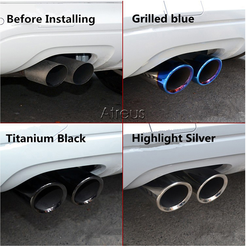 lowest price Atreus 2PC Car Stainless steel Exhaust Tip Muffler Pipe Cover For Audi A4 B8 A6 C6 Accessories For Audi A3 A5 Q5 Q7 Q3 A1 S line