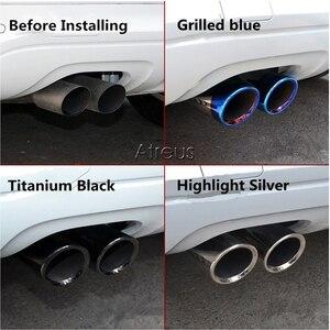 Image 4 - Copertura del tubo del silenziatore della punta di scarico dellacciaio inossidabile dellautomobile di Atreus 2PC per Audi A4 B8 A6 C6 accessori per Audi A3 A5 Q5 Q7 Q3 A1 S line
