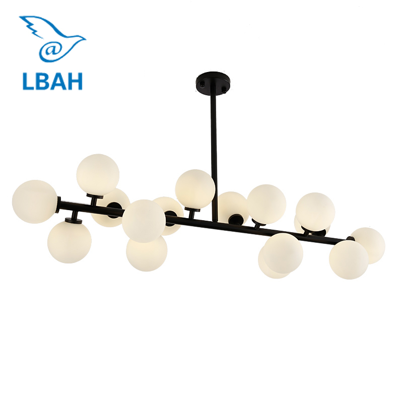 LED G4 16 head black Nordic contracted, wrought iron glass ball, magic beans golden chandeliers postmodern molecular cafe home