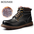 2017 BOXINIDI Adult Man Non-slip Snow Waterproof Men Plush Boots Winter,Christmas Gift Ankle Mens Boot Wool Shoes Man Shoes
