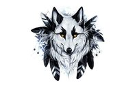 fantasy original art artistic artwork wolf wolves indian makeup 4' Size Home Decoration Canvas Poster Print