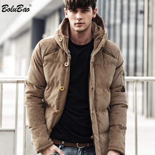 Bolubao 新冬男性パーカーコート冬のファッションブランドメンズ品質入り厚く暖かいコート男性綿フード付きパーカー