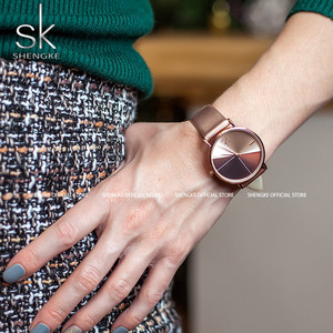 Image 2 - Часы наручные Shengke женские с кожаным ремешком, модные асимметричные, в винтажном стиле