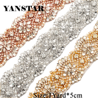 YANSTAR Handmade 5CM*10Yards Rhinestones Appliques For Wedding Dress Belt Clear Crystal Sewing On DIY Bridal Sash YS821