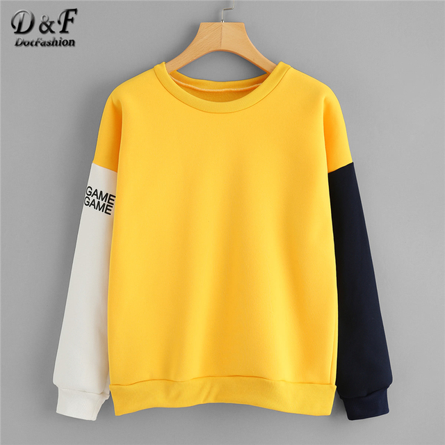 89671f717294 Dotfashion Contrast Sleeve Letter Print Sweatshirt Colorblock Multicolor  O-Neck Long Sleeve Spring Autumn Women Casual Pullover