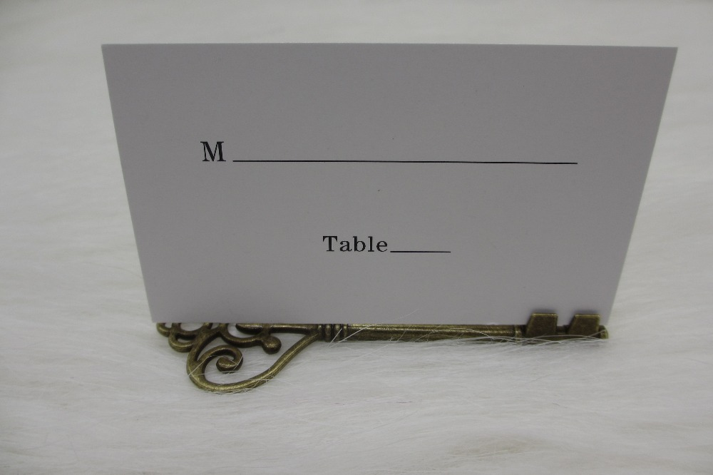 100pcs lot Wedding Favors Antique Bronze Skeleton Key Place Card Holder  with Matching Place CardOnline Buy Wholesale antique wedding favors from China antique  . Antique Wedding Favors. Home Design Ideas