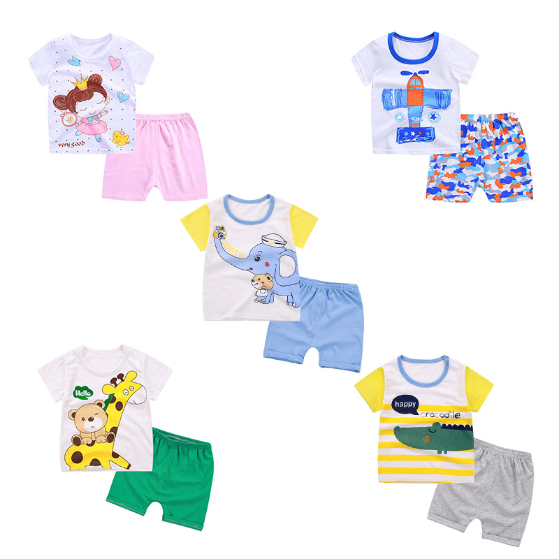 2pcs Summer Baby Girls And Boy Clothes Set Infant Kids Cartoon Short-sleeved T-shirt+Pants Two Sets Newborn Newly Suits