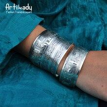 Artillery ady – bracelet de manchette en cuivre plaqué argent, style boho antique, motif sculpté