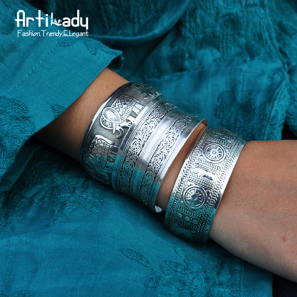 Artilady boho antic silver cuff copper bangle bohemia antalya carve pattern Statement bangle dropshipping
