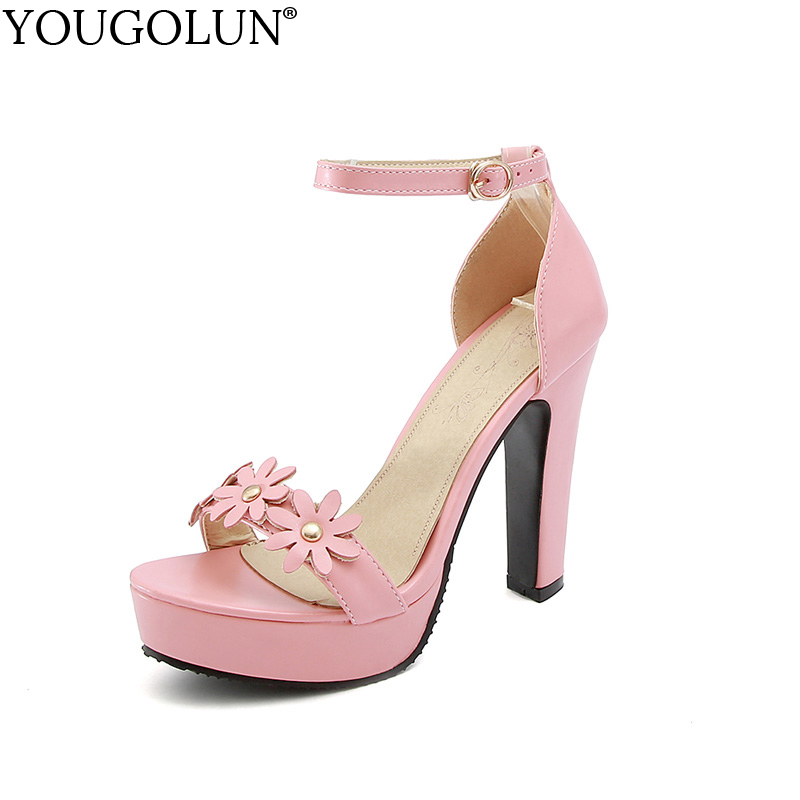 YOUGOLUN Women Ankle Strap Sandals Summer Sexy Ladies High Thick Heels 12 cm Elegant Woman Pink White Apricot Party Shoes #A-105 new summer elegant sandal fashion platform women sandals thick high heels ankle strap pink white black women shoes size 33 43