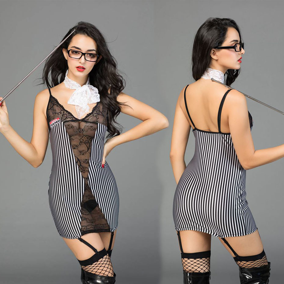New Porno Women Teacher Uniform Cosplay Sexy Babydoll Lingerie Sexy Hot Erotic Striped Sleepwear Erotic Lingerie Porno Costumes