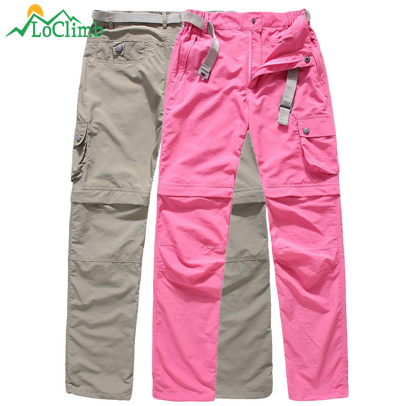 LoClimb Women's Removable Anti-Uv Hiking Pants Women Summer Waterproof Outdoor Sport Trousers Trekking Pockets Short Pants,AW089