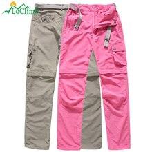 LoClimb Women's Removable Anti-Uv Hiking Pants Women Summer Waterproof Outdoor Sport Trousers Trekking Pockets Short Pants,AW089