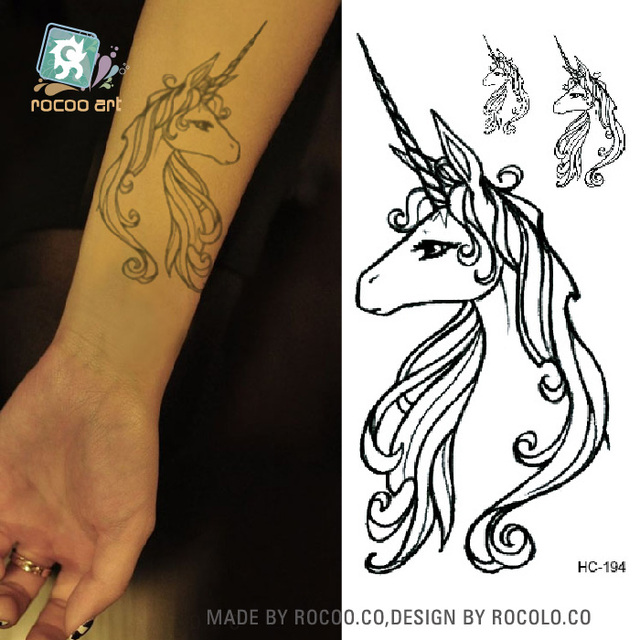 Body Art Sex Products Black White Unicorn Horse Water Transfer Temporary Fast Flash Fake Tattoos Sticker Taty